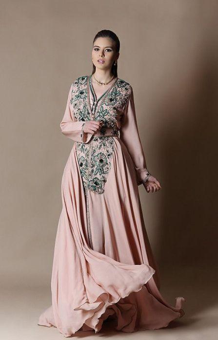 caftan rose et vert mariage oriental