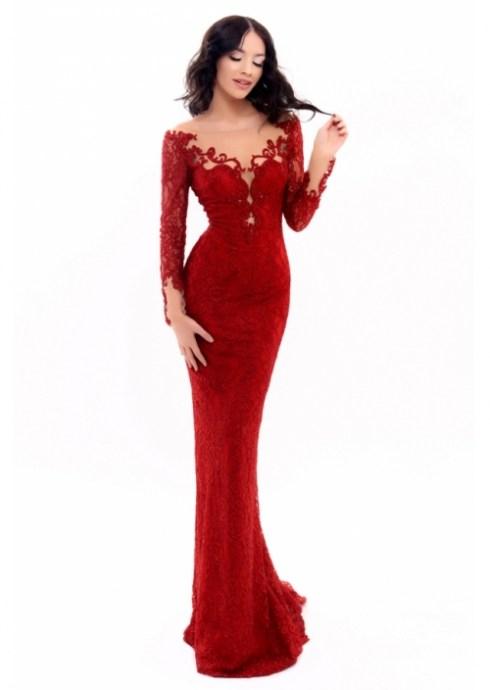 robe rouge dentelle Tarik Ediz