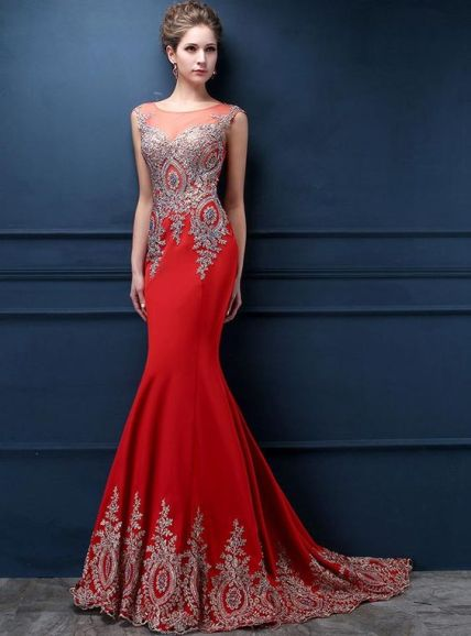robe de soirée sirène orange mariage oriental