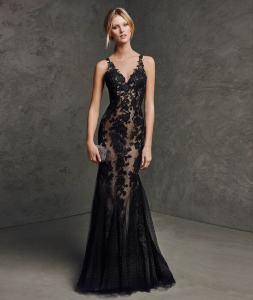 robe de soirée noire libanaise et dubai, longue en dentelle et brodé, robe sirène