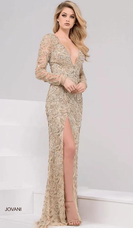 Robe de soirée JOVANI Paris. Les plus belles robes de soirée dorée, maxi longue, ouverte, sexy, élégante, moulante, courte, sequins. Robe en location. Robe en vente sur Paris.