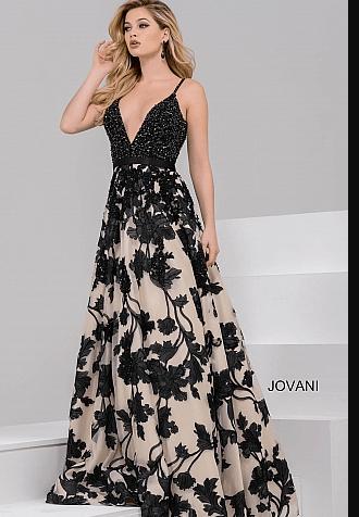 Magnifique robe de soirée JOVANI à fleurs. Robe en mousseline noire et beige. Robe maxi longue. Robe de princesse sur Paris. Robe de soirée en location ou à la vente sur Paris.