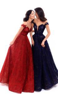 robe de soiree princesse tarik ediz bleu rouge mariage nouvelle collection ample volumineuse 2018