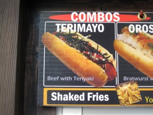 Photo du Japadog Terimayo  sur le menu du restaurant.