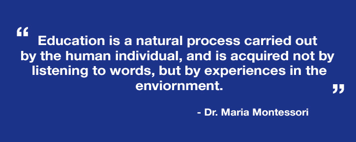 """Education is a natural process carried out by the human individual, and is acquired not by listening to words, but by experiences in the environment.""