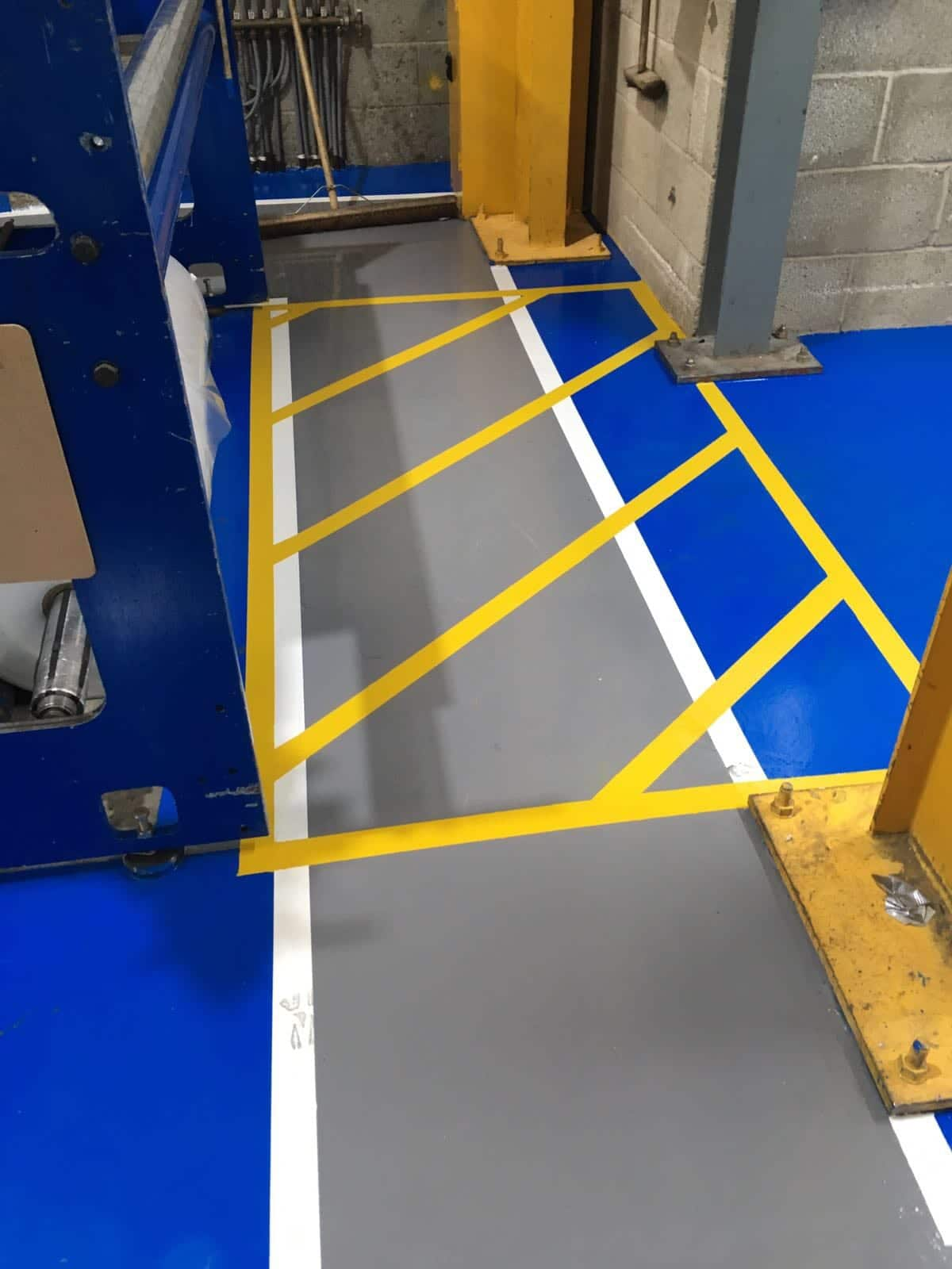factory flooring using resin - hatched lines - Monarch Resin Flooring