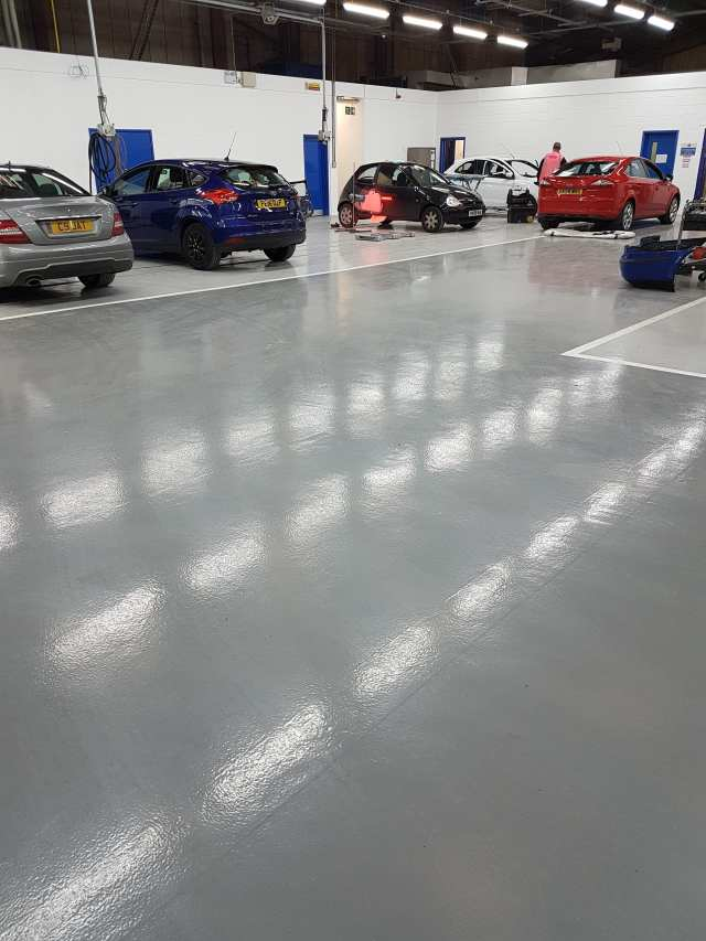 Automotive resin flooring - Monarch resin flooring