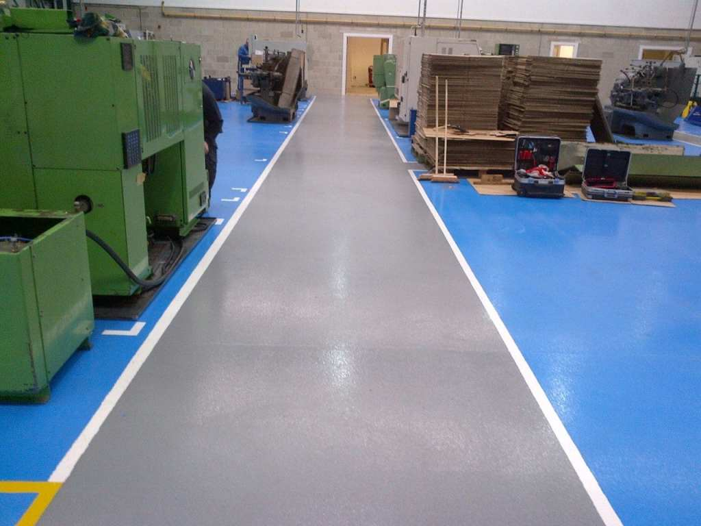 oil tolerant non slip floor manufacturing flooring, resin line marking
