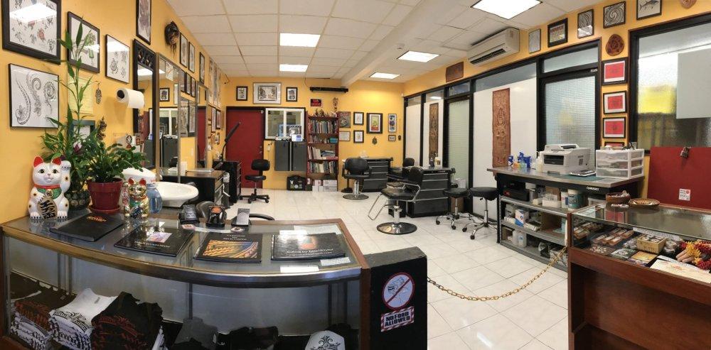 Oahu tattoo shop interior.