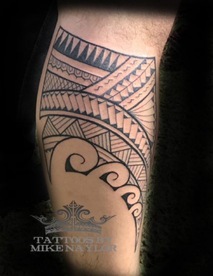 Polynesian leg tattoo by Mike