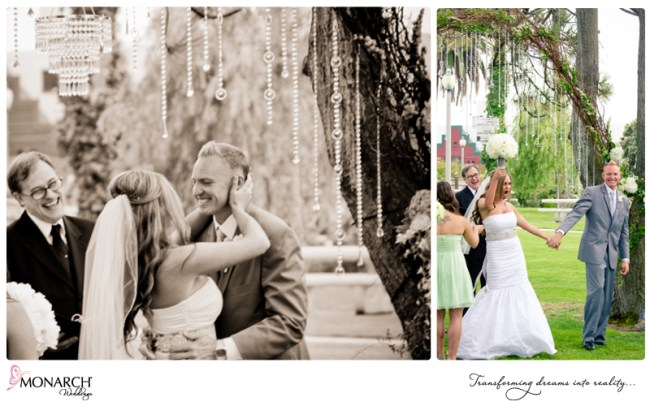 Shabby-chic-park-wedding-crystal-chandelier-crystals-branch-arch-kiss