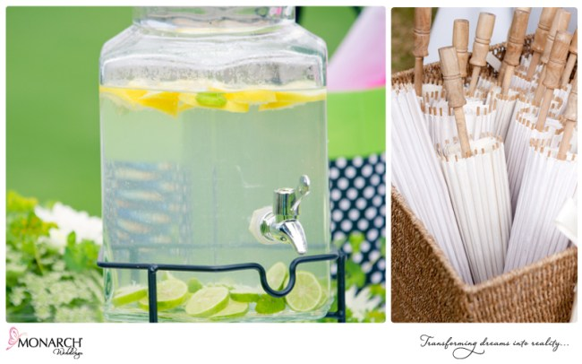 Lemon-water-parasols-shabby-chic-park-wedding