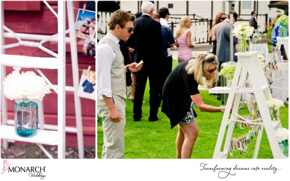 cocktail-hour-shabby-chic-park-wedding-photo-ladder-at-wedding