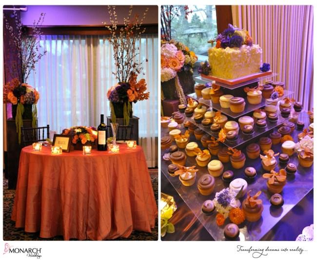 Lodge-torrey-pines-orange-purple-wedding-cupcake-stand