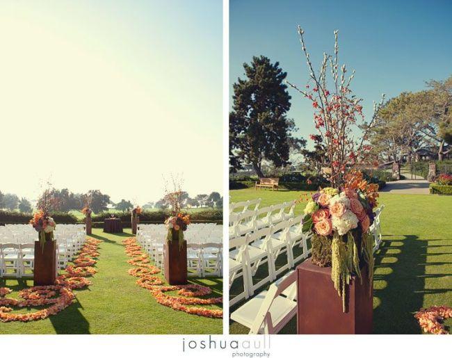 Lodge-torrey-pines-rustic-wedding-scrolling-petail-aisle