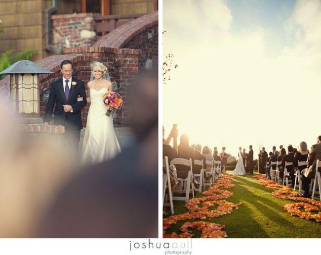 Lodge-at-torrey-pines-wedding-orange-rose-petal-scrolling-aisle