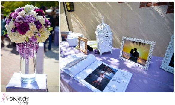 Sign_In_Photo_book_Pillar_with_Puple_Centerpiece_Picture_Frames_for_Sign_In