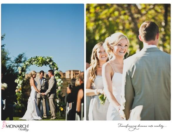 Rustic-chic-wedding-del-sur-ranch-house-bride-at-ceremony-arch