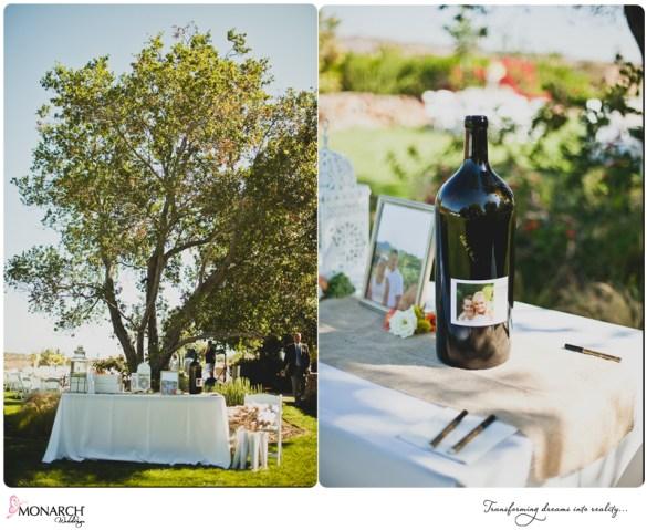 Guest-book-wine-bottle-burlap-runner-rustic-chic-wedding