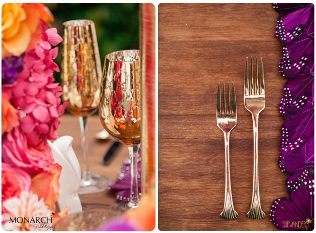 Gold-champagne-glasses-gold-flatware-butterfly-placemats-exquisite-weddings