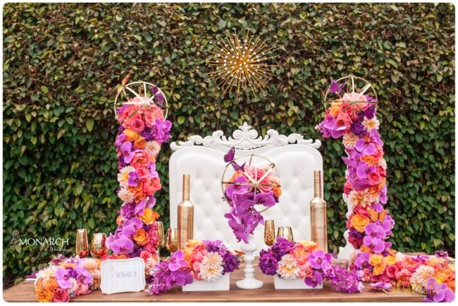 Purple-Phalaenopsis-coral-peony-white-throne-chair-table-top