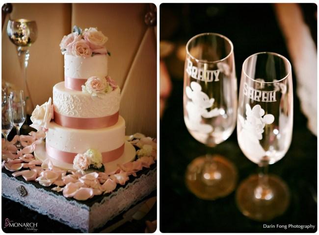 Blush-black-white-wedding-at-La-Valencia-Cake-Disney-engraved-champagne-flutes