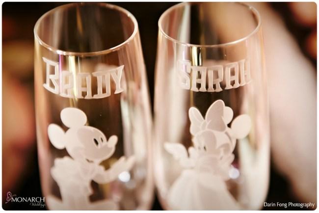 Blush-black-white-wedding-at-La-Valencia-Disney-engraved-champagne-flutes
