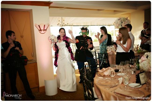 Blush-black-white-wedding-at-La-Valencia-Grand-Entrance-Bride-Groom