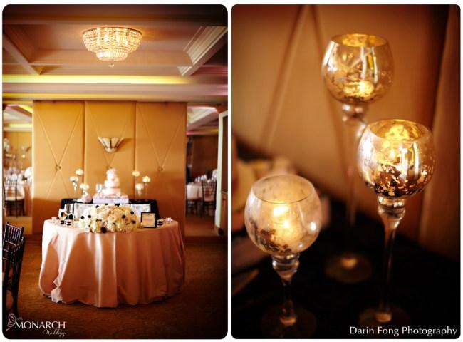 Blush-black-white-wedding-at-La-Valencia-sweetheart-table-mercury-votives