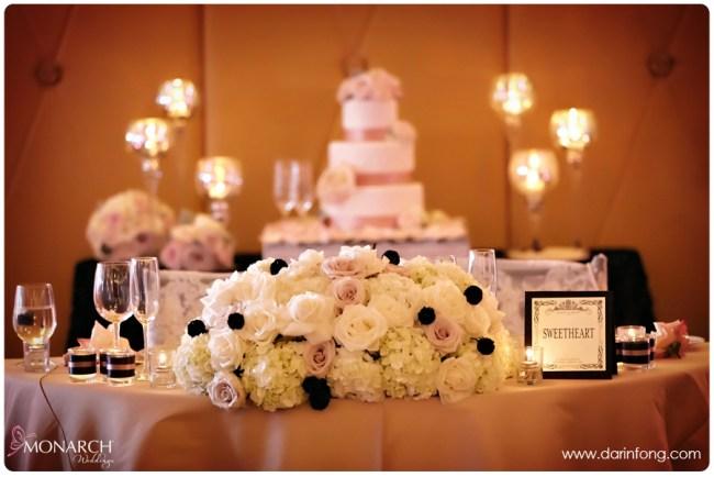 Blush-black-white-wedding-at-La-Valencia-sweetheart-table