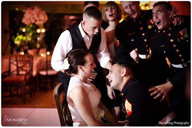 Blush-black-white-wedding-at-La-Valencia-Groom-signs-to-bride