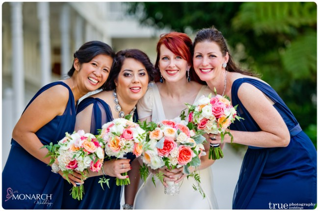 Vintage-nautical-wedding-hotel-del-blue-bridesmaids-dress-juliet-roses-bouquets