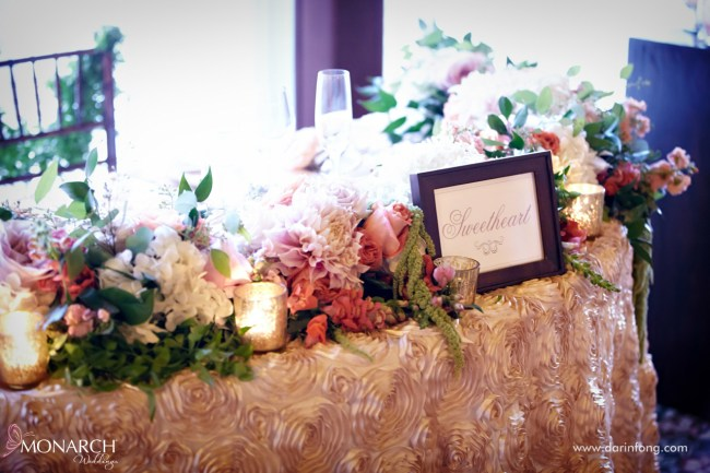 Lodge-at-Torrey-pines-wedding-reception-sweet-heart-table-champagne-rosette-linen