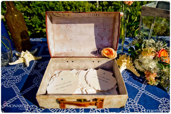 Vintage-nautical-wedding-hotel-del-shell-program-in-vintage-box