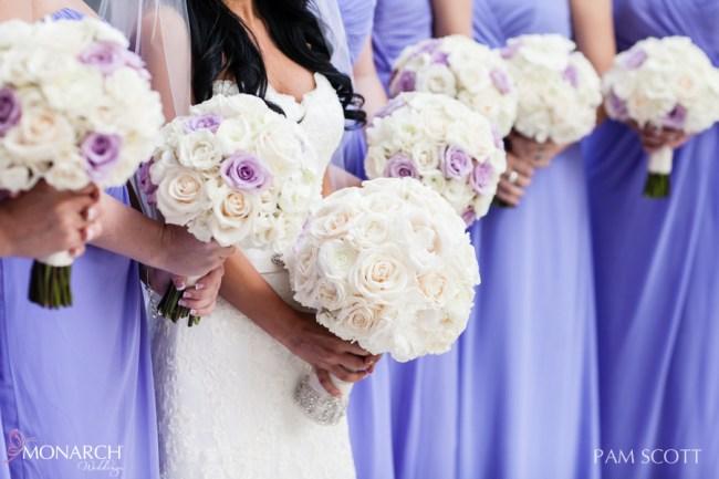 Violet-purple-bridesmaids-dresses-ivory bouquets-hotel-del-coronado-wedding