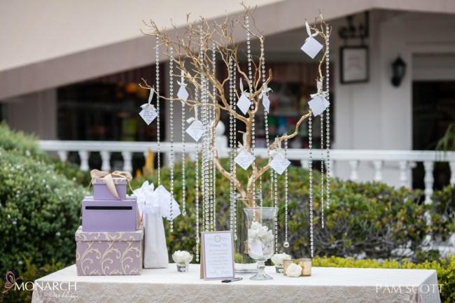Welcome-gift-table-wishing-tree-hotel-del-coronado-wedding