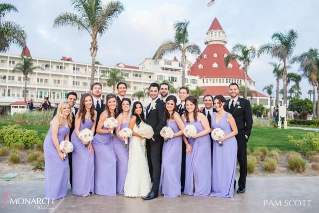Briidal-party-photo-voilet-bridesmaids-dress-hotel-del-coronado-wedding
