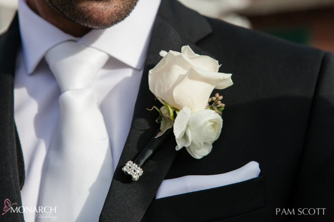 Grooms-Boutonnière-white-with-touch-of-bling-hotel-del-coronado-wedding