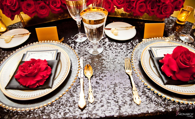 Gatsby-wedding-Black-sequin-linen-red-rose-classic-party-rental-china-gold
