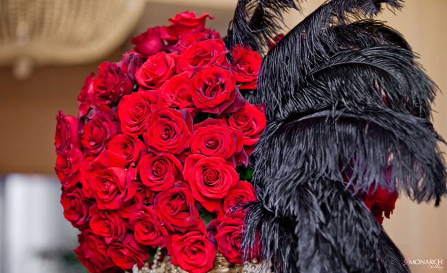 Gatsby-wedding-red-roses-black-feather-centerpiece-gold-accents-us-grant-hotel-3