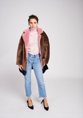 manteau fausse fourrure tara jarmon color block