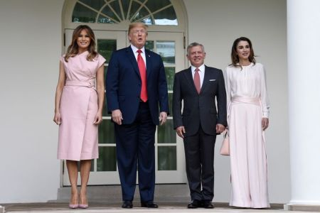 What Melania Wore Welcoming Jordan's King and Queen