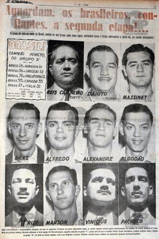 Le trombinoscope de l'équipe brésilienne (Source : A Gazeta Esportiva - 7 août 1948)