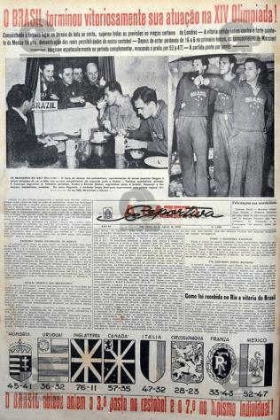 L'équipe de Basket-Ball du Brésil est seule médaillée (Source : A Gazeta Esportiva - 14 août 1948)