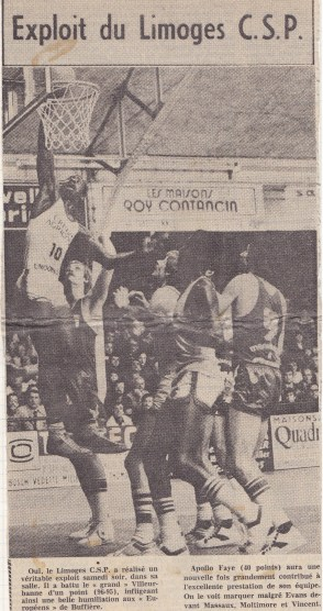 Apollo a été grandiose contre l'ASVEL (Source : Photo Le Populaire du Centre, 1979).