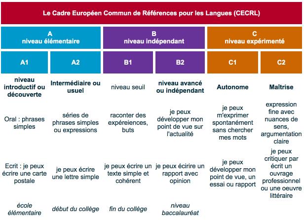 cv niveau competence langues