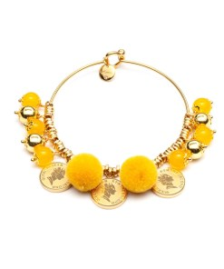 bracciale pompon queen giallo oro le carose