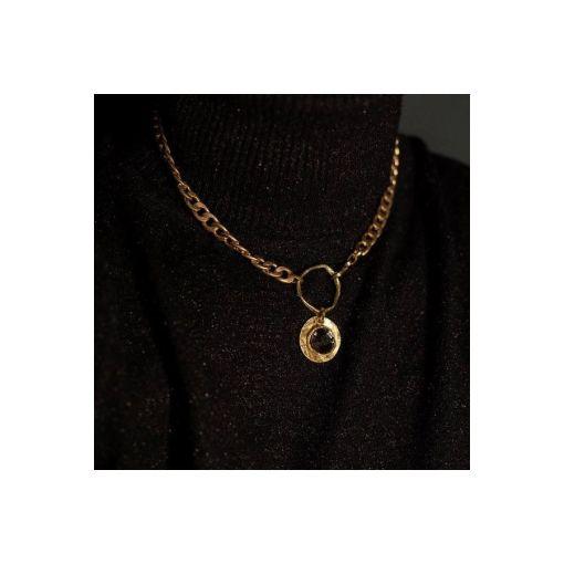 collana bronzo catena pendente black strass opus4 02