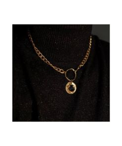 collana bronzo catena pendente black strass opus4 02