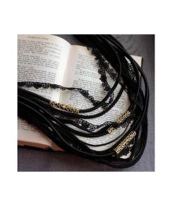 collana bronzo cordoni in tessuto black opus4 02